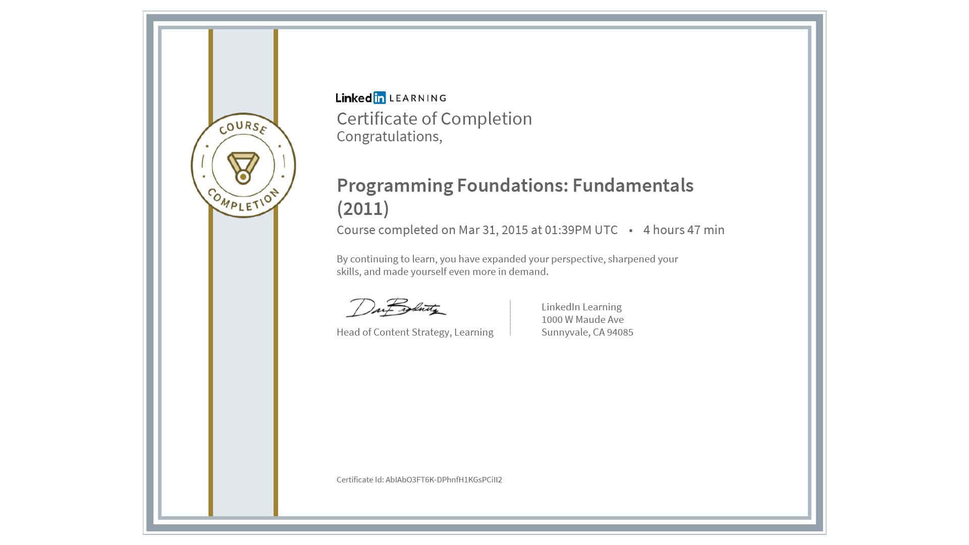 completion certificate fundamentals programming certification course