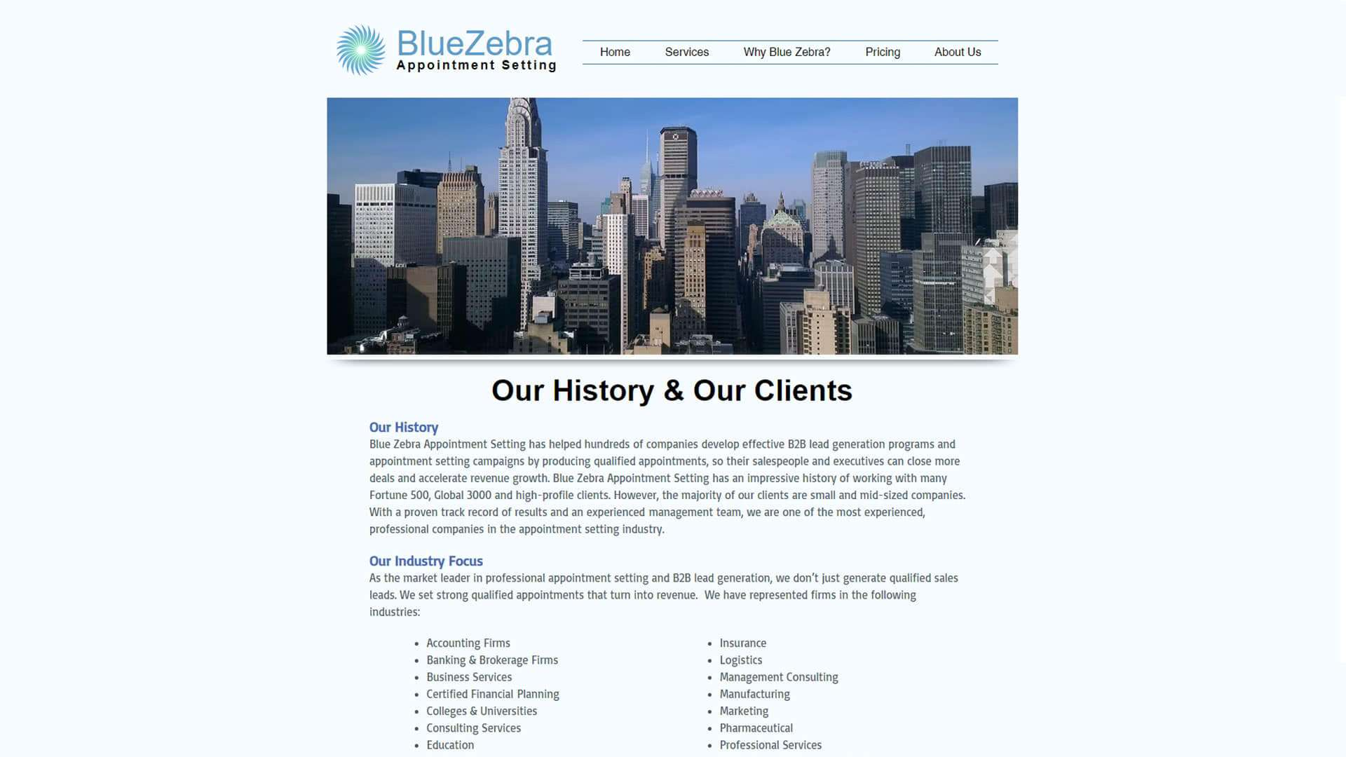 blue-zebra-appointment-setting-our-history-and-clients