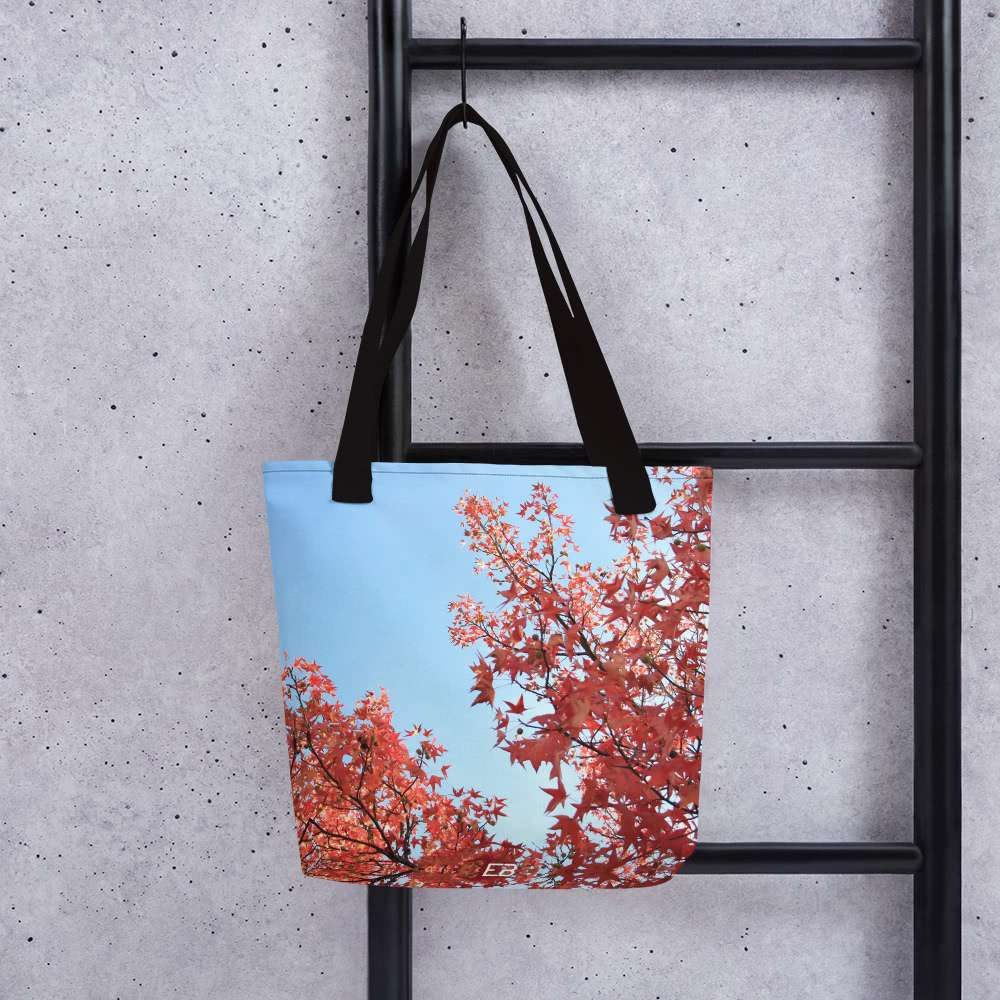 The Autumn Sky Tote Bag hanging from a ladder.