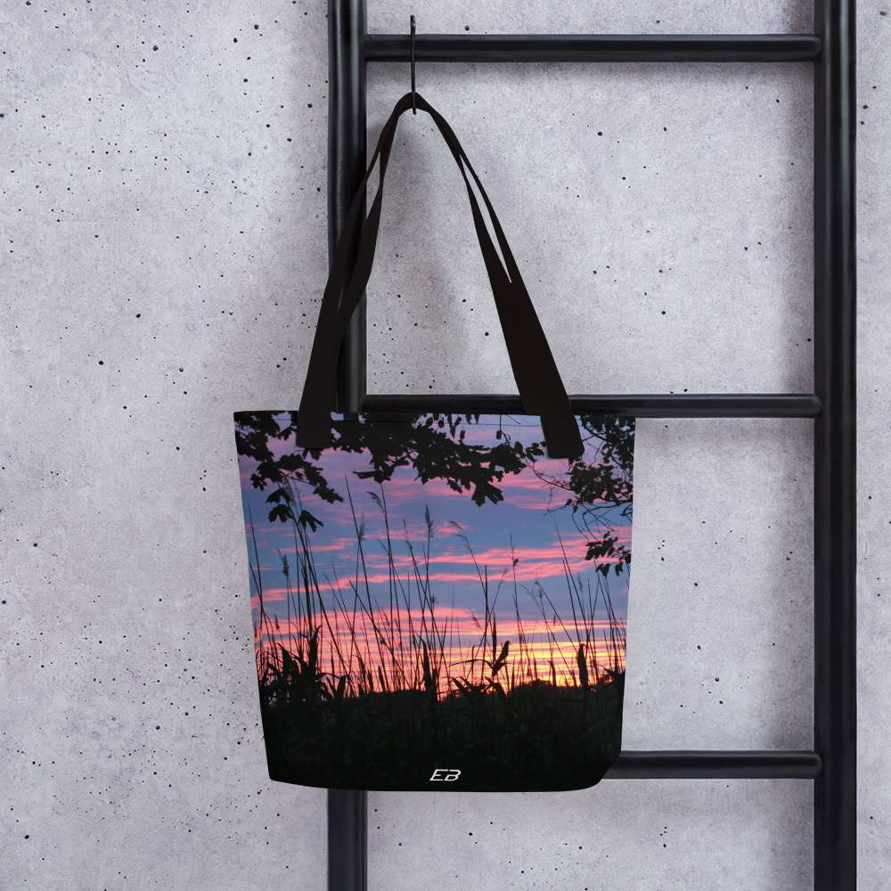 The Sands Point Sunset Tote Bag hanging from a ladder.